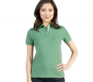 Isaac Mizrahi Live Short Sleeve Rib Knit Collar Polo Shirt —