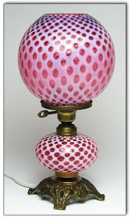 Antique Cranberry Glass Fenton Coin Dot Table Lamp