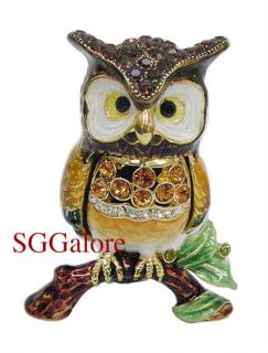 Collectible RUCINNI Swarovski Crystals BeJeweled OWLS Birds Trinket