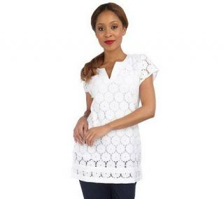 Isaac Mizrahi Live Short Sleeve Split V Neck Lace Tunic —