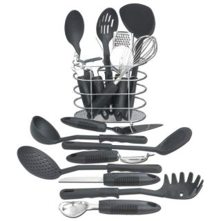 17 Piece Kitchen Tool Set cooking utensils set new in box black heavy