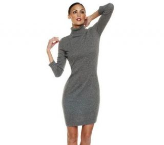 Isaac Mizrahi Live Cashmere Turtleneck Dress —