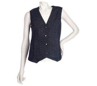 Denim & Co. 4 Button Denim Vest w/ Stud Detail —
