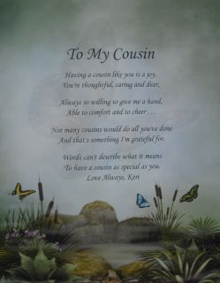 To My Cousin Personalized Poem Birthday or Christmas Gift Secret
