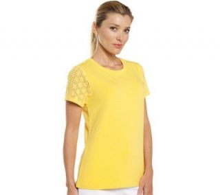 Isaac Mizrahi Live Crew Neck Top with Lace Sleeve Detail —