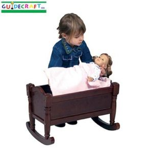 New Wooden Kids Baby Doll Bed Wood Cradle Crib Espresso