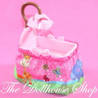 New Pink Baby Girl Doll Crib Cradle Nursery Fisher Price Loving Family