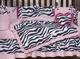 Cheap Pink Black Zebra Print Discount Baby Girl Crib Bedding Designer