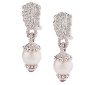 Judith Ripka Sterling Cultured Freshwater Pearl Earrings —
