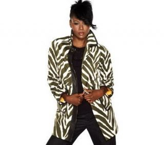 Isaac Mizrahi Live Animal Printed Button Front Coat —