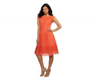 Isaac Mizrahi Live Drop Sleeve Eyelet Grid Accent Dress   A215594