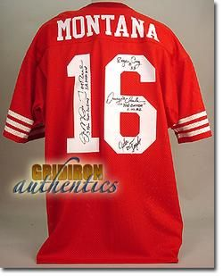 TEAM SIGNED JOE MONTANA GAME JERSEY JERRY RICE, CRAIG, CLARK, TAYLOR
