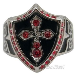 Mens Silver Ruby Crystal Cross Noble Knight Stainless Steel Ring Size