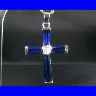 Fashion Jewelry Gift Cross Cut Blue Sapphire White Gold GP Pendant