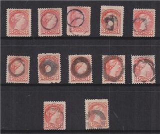 CANADA, Small Queens 3c., 1 Ring Targets, various types (12)