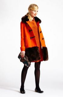 kate spade new york faux fur & wool coat & shirtdress