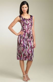 Maggy London Ruched Print Sheath Dress