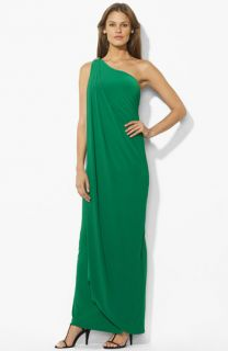 Lauren Ralph Lauren Embellished One Shoulder Gown