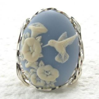 Hummingbird Blue Cameo Ring Sterling Silver Custom Jewelry