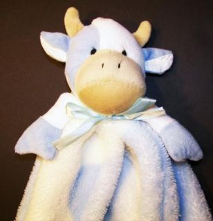 Cutie Pie Baby Blue White Cow Security Blanket