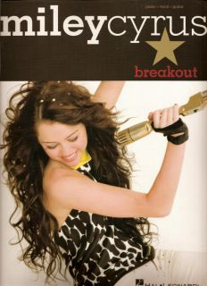 Miley Cyrus Breakout PVG Piano Vocal Guitar Song Book