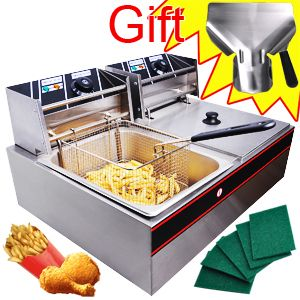 COMMERCIAL ELECTRIC DUAL BASKET DEEP FRYER FOR HOME RESTAURANT