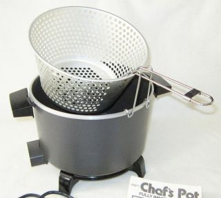 Dazey Chefs Pot Fully Immersible Deep Fryer Cook Steam Slow Cooker