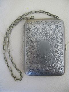 Victorian Art Nouveau Silver Dance Coin Purse Card Case Powder Compact