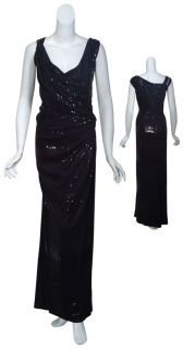 David Meister Shimmering Black Knotted Sequin Long Gown Dress Womens