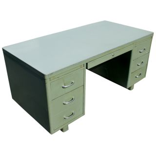 age metal desk green metal body with laminate top and chrome