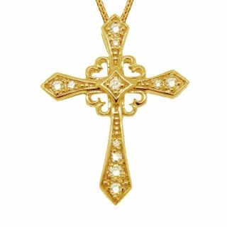 25ct Antique Style Diamond Cross Pendant Necklace Vintage 14k Yellow