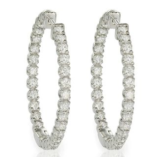 Ct F SI1 Round Brilliant Cut Diamond Hoop Earrings White Gold