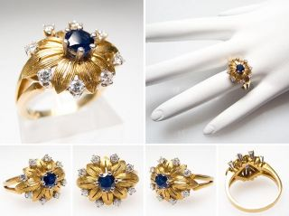 Vintage Blue Sapphire & Diamond Ring Flower Motif Solid 18K Gold