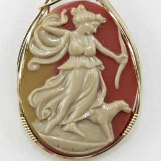 Goddess Diana The Huntress Cameo Pendant 14k Rolled Gold