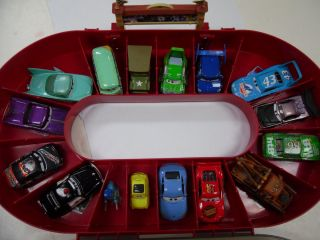 Lot of 16 Disney CARS Diecast Cars Carrying Case with Race Track MUST