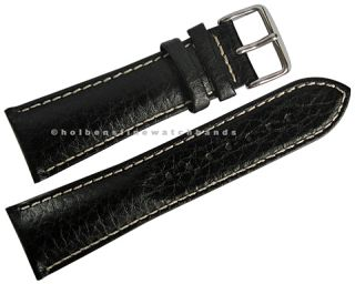 24mm deBeer Black Chrono Sport Leather Mens Distressed Watch Band
