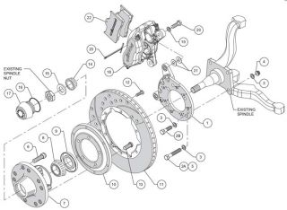 WILWOOD DISC BRAKE KIT,70 73 FORD MUSTANG,11,BLACK CALIPERS