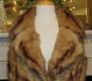 Dennis Basso Faux Fur Notch Collar Vest with Pockets Honey Sz M Small