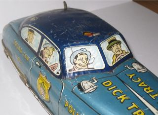 dick tracy blue squad car tin litho toy car marx vtg