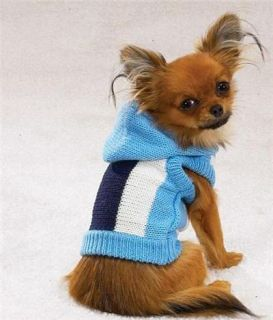 Blue Striped Sleeveless Hoodie Dog Sweater Small