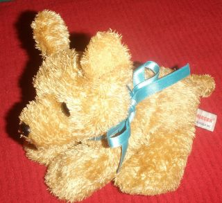 Aurora Puppy Dog Blue Ribbon Plush Pebbles 7""