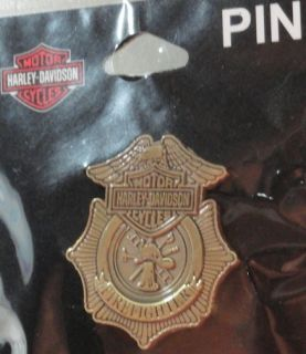 Harley Davidson Motorcycles Firefighter Badge Bronze Pin New w Card
