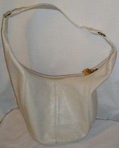 Donald Pliner Couture Handbag Purse Hobo Cream Leather