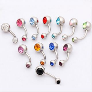 Lot New 12pcs 14g Double Gem Crystal Navel Rings Belly Bars 393