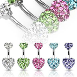 Paved Gem Double Heart Navel Belly Ring