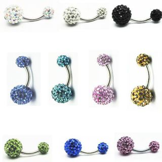 Multi Crystal Ferido Double Ball Navel Ring Belly Button Bar