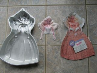 Wilton BARBIE Doll 1992 Cake Pan Mold with INSERT AND FACE 2105 2551