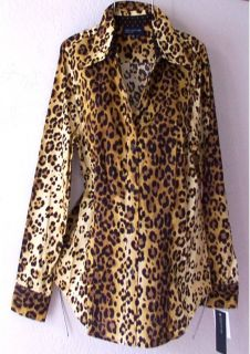 NEW JONES NEW YORK Leopard Animal Print Brown Dot Blouse Shirt Top 12
