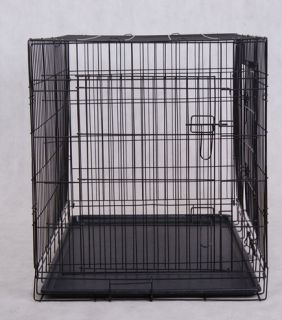 42 Large 2 Doors Folding Wire Pet Cat Dog Crate Cage Kennel W/ Free