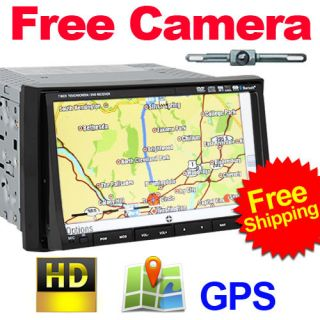 DIN Car Stereo DVD Player GPS Nav Cam Bluetooth iPod FM SD Port
